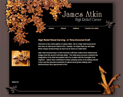 Link to James Atkin High Relief Carver website design.