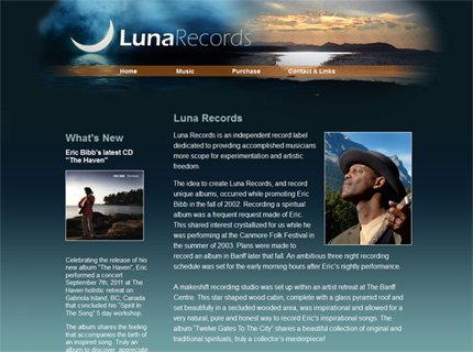 Luna Records Website design link