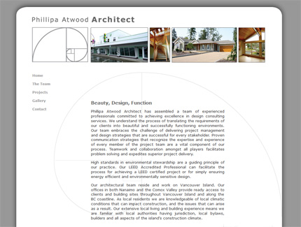 Link to Phillipa Atwood Archtect Website design, Vancouver Island
