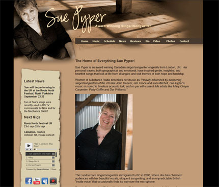 Website design image for Sue Pyper
